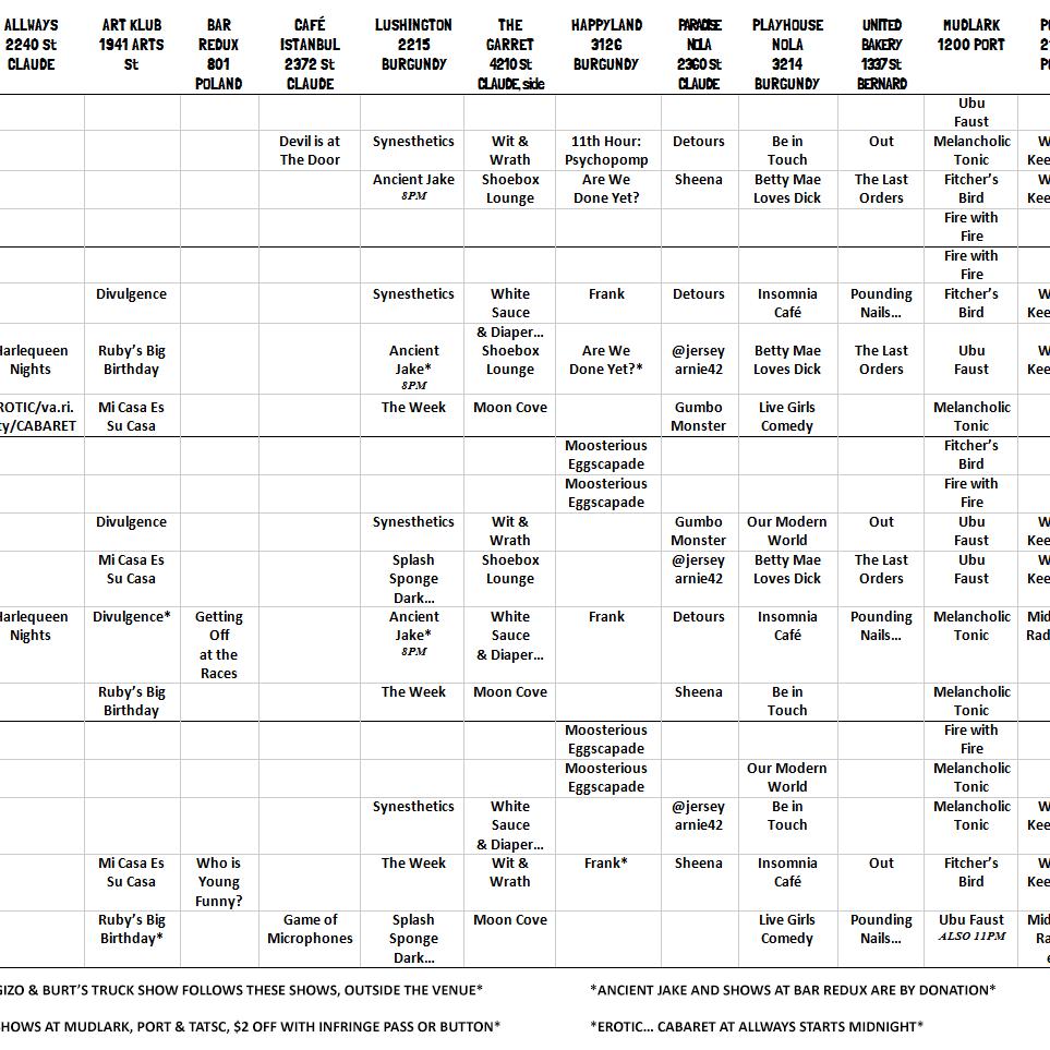 InFringe Calendar Grid