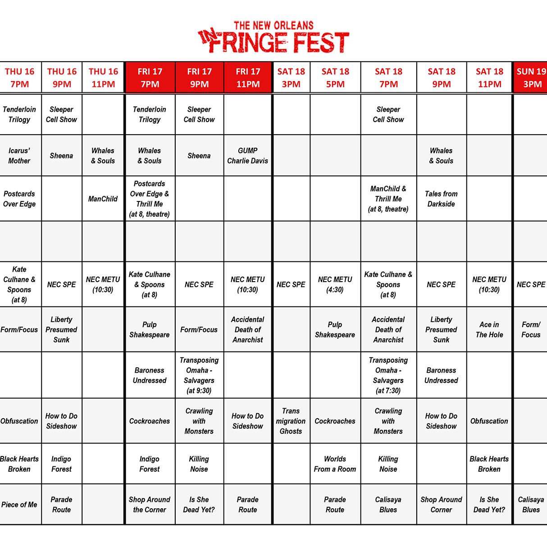 INFRINGE FEST CALENDAR GRID 2017